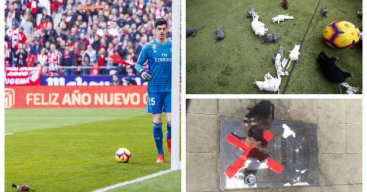 Tifozët e Atleticos i hodhën Courtoisit lodra në formë minjsh gjatë derbit të Madridit