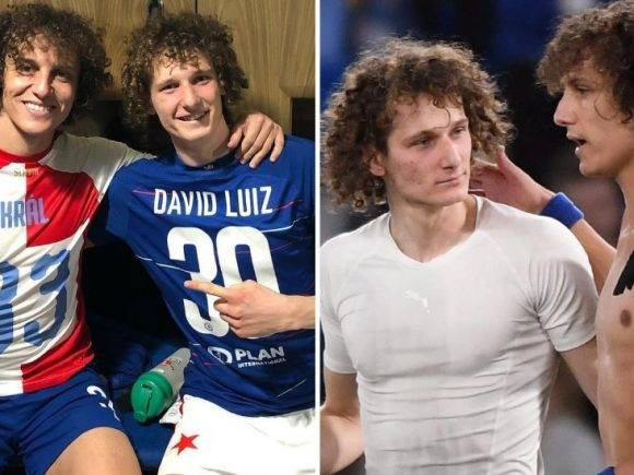 Momenti që i hutoi tifozët e Chelseat – David Luiz takoi pas ndeshjes 'kopjen' e tij Alex Kral që luan te Slavia Pragë