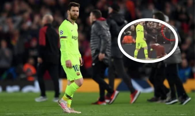 Një nga mbledhësit e topave i Liverpoolit festoi në fytyrën e Messit duke bërë një gjest të vrazhdë